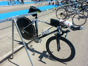 Bike racked and ready. She's a funny old bike, but fast enough for me.